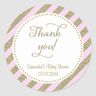 Blush Pink and Gold Glitter Thank You Sticker