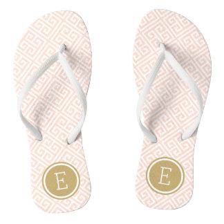 Blush Pink and Gold Greek Key Monogram Thongs