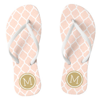 Blush Pink and Gold Moroccan Quatrefoil Monogram Thongs