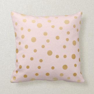Blush pink and gold polka dot pillow
