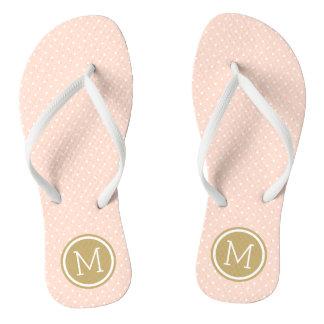 Blush Pink and Gold Tiny Dots Monogram Thongs