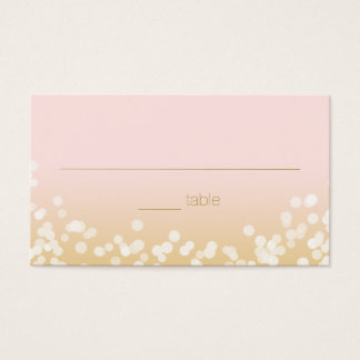 Blush Pink and Gold Twinkle Lights Seating Business Card
