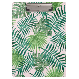Blush Pink and Green Palm Leaves Tropical Pattern Clipboard