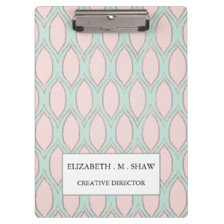 blush pink and mint Modern Geometric Pattern Clipboard