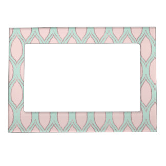 blush pink and mint Modern Geometric Pattern Magnetic Frame