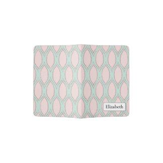 blush pink and mint Modern Geometric Pattern Passport Holder