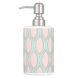 blush pink and mint Modern Geometric Pattern Soap Dispenser And Toothbrush Holder