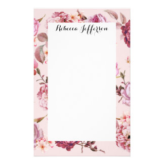 Blush Pink and Red Watercolor Floral Roses Personalized Stationery