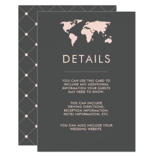 Blush Pink and Smoky Gray World Map Guest Details Card