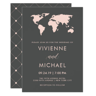 Blush Pink and Smoky Gray | World Map Wedding Card