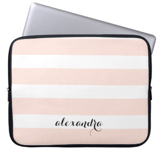 Blush Pink and White Stripes | Name in Calligraphy Laptop Sleeve