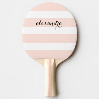 Blush Pink and White Stripes Ping Pong Paddle