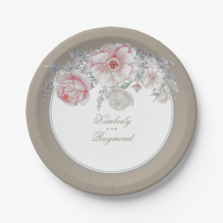 Blush Pink and White Watercolor Flowers Vintage Paper Plate