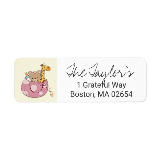 Blush Pink Baby Animals Return Address Return Address Label