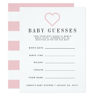 Blush Pink Baby Shower Guessing Game Card