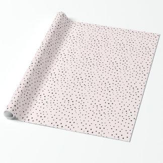 Blush Pink & Black Confetti Dots Wrapping Paper