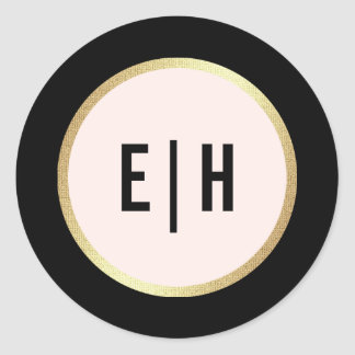 Blush Pink | Black Monogram Wedding Stickers