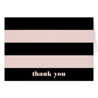Blush Pink & Black Retro Stripe Thank You Note Card
