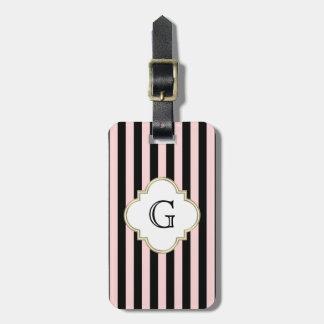 Blush Pink, Black Stripe White Monogram Label Luggage Tag