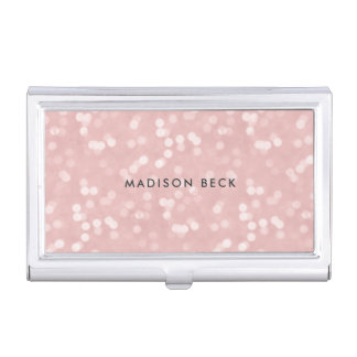 Blush Pink Bokeh Personalized Business Card Holder