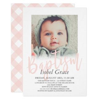 Blush Pink Brush Script Photo Baptism Card