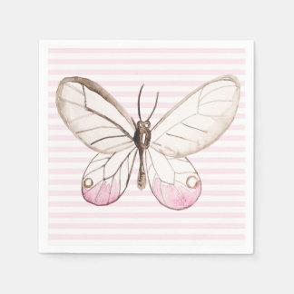 Blush Pink Butterfly & Stripes Paper Napkins