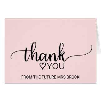 Blush Pink Calligraphy Bridal Shower Thank You Card