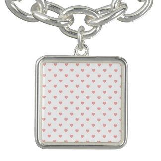 Blush Pink Candy Polkadot Hearts on White Charm Bracelet