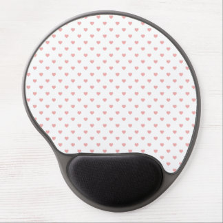 Blush Pink Candy Polkadot Hearts on White Gel Mouse Pads