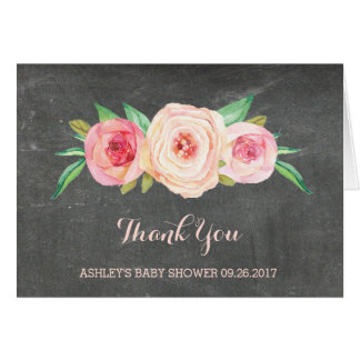 Blush Pink Chalkboard Baby Shower Thank You Greeting Card