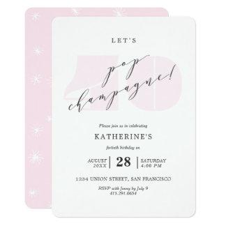 Blush Pink Champagne 40th Birthday Party Invite
