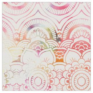 Blush pink coral watercolor modern floral mandala fabric