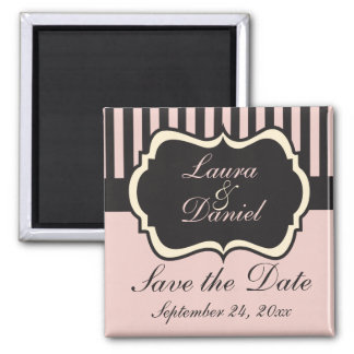 Blush Pink, Cream, Gray Save the Date Magnet