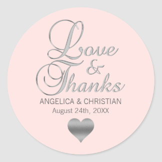 Blush Pink Cream Rose Wedding Love & Thanks Classic Round Sticker