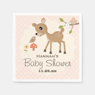 BLush Pink Egg Woodland Deer Baby Shower Disposable Napkins