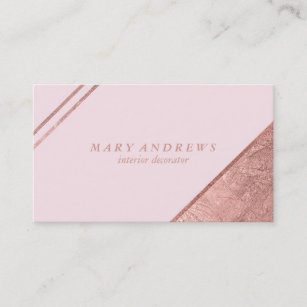 Blush Pink Faux Rose Gold Elegant Interior Design Business Card