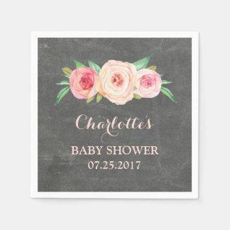 Blush Pink Floral Chalkboard Baby Shower Disposable Napkin