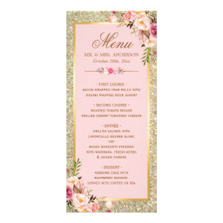 Blush Pink Floral Gold Glitter Wedding Menu