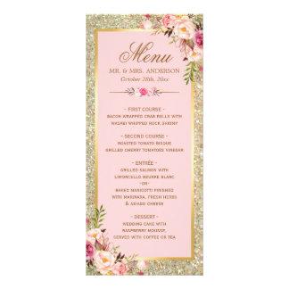 Blush Pink Floral Gold Glitter Wedding Menu Rack Card Design