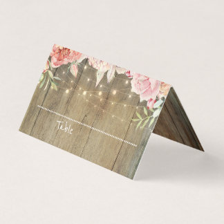 Blush Pink Floral String Lights Rustic Wood Place Card