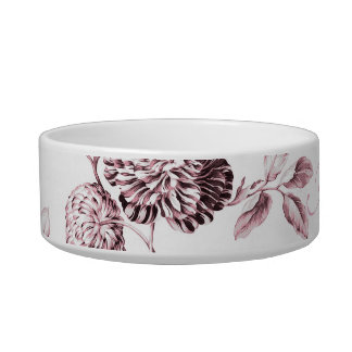 Blush Pink Floral Toile Customize Pet Name Bowl