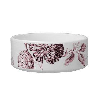 Blush Pink Floral Toile Customize Pet Name Pet Water Bowl