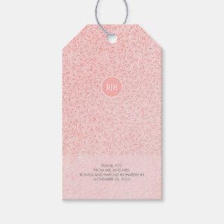 Blush Pink Floral Vintage Monogram Wedding Gift Tags