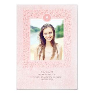 Blush Pink Floral Vintage Photo Graduation Card