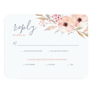 Blush Pink Floral Watercolor Modern Wedding Reply Card
