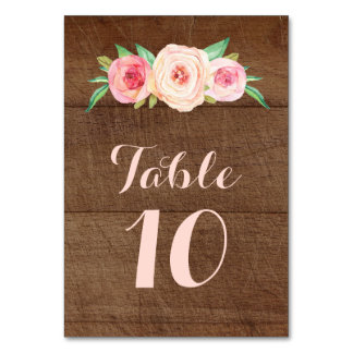 Blush Pink Floral Wood Wedding Table Number Cards Table Cards