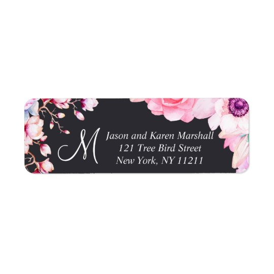 Blush Pink Flowers on Black Address Labels