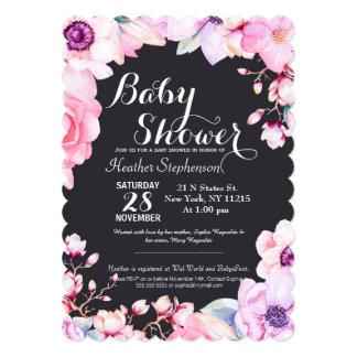 Blush Pink Flowers on Black Baby Shower Invitation