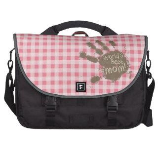 Blush Pink Gingham; Funny Mom Laptop Commuter Bag
