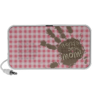 Blush Pink Gingham; Funny Mom Portable Speakers